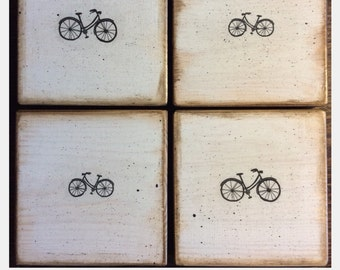 WOODEN COASTERS - set of 4 - Horse - Bike