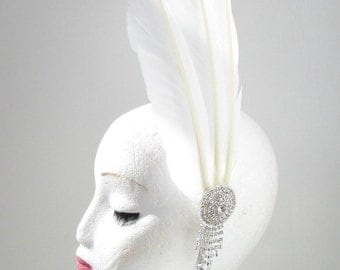 White Silver Long Feather Headpiece Fascinator Headband Vintage 1920s 1940s Y29