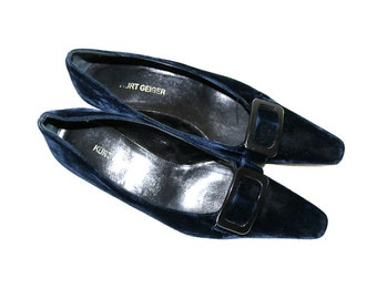 KURT GEIGER Vintage Dark Blue Velvet Leather Shoes Kitten Heels Pointed Toe Womens Classic Shoes 37.5/4.5/7