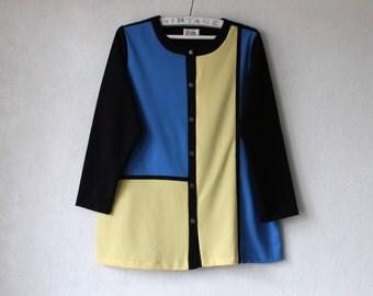 Vintage Colorblock Blouse Black Blue Yellow Color Block Shirt Long Sleeve XL Large Plus Size