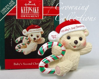 1992 Hallmark Baby's Second Christmas Keepsake Ornament 2nd Teddy Bear Child's Age Collection Candy Cane 2nd MIB Vintage