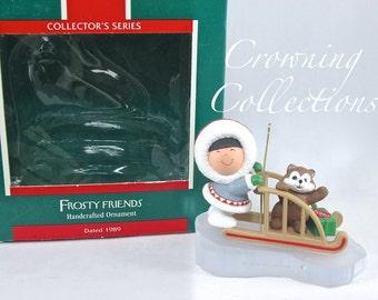 1989 Hallmark Frosty Friends Keepsake Ornament 10th in Series Eskimo Husky Dog Sled Ice Vintage Christmas