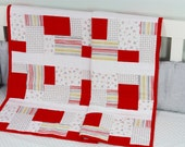 Baby Quilt, Handmade Baby Quilt, Modern Baby Quilt, Baby Gift, Newborn Gift, Baby Shower Gift, Holiday Baby Gift, Red and White Baby Quilt