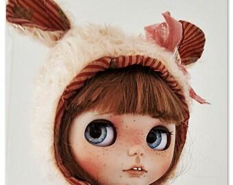 """Ooak luxury fluffy mohair bear hat """"bohemian rhapsody"""" for Blythe!"""