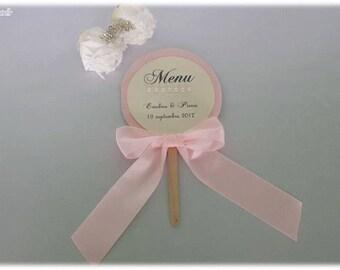 Romantic pink lollipop model wedding menu