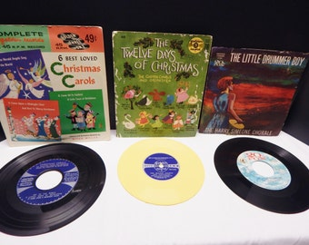 Christmas Records 3 Sold Individually The Little Drummer Boy, The Twelve Days of Christmas and 6 Best Loved Christmas Carols