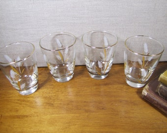 Libbey - White Wheat - Gold Accent - Small Juice Glass - Heavy Bottom -Set of Four (4)