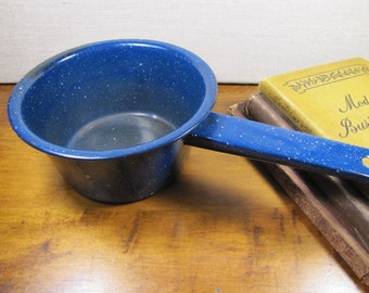 Small Blue Enamelware Saucepan - White Specks