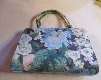 "Vintage Margaret Smith Floral Tote/Handa 7 1/4"" Tall X 10"" Wide Great Blues"