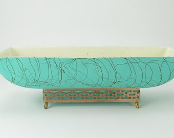 Maddux of California No 120 - Mid Century Vintage Ceramic Planter, teal and gold