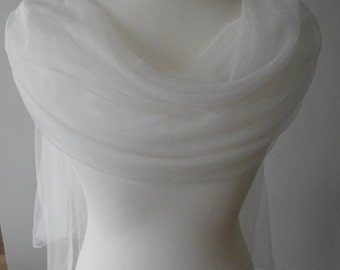 Beautiful Pure Soft Silk Tulle Bridal Wrap/Stole