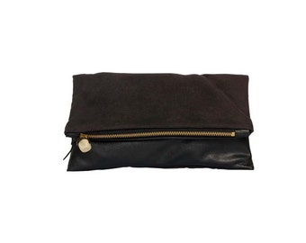 Suede/leather clutch