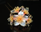 OOAK Resin Japanese Kanzashi Hair Stick Wedding Accessories Cherry Blossom. White Transparent Sparkling Flowers Wire wrapped.