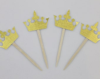 Gold Crown Cupcake Toppers - Set of 24