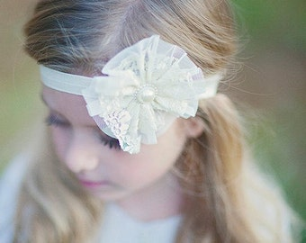 Baby Girls Handmade Vintage Lace Flower Hairband - Soft Elastic Headband Photography Prop