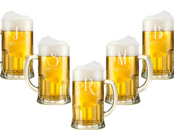 Personalized Beer Mug - 12oz / Monogram Glasses / Etched Glasses / Custom Beer Glasses / Wedding Favor / Groomsman Gift- Select ANY QUANTITY