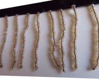 Handmade GLASS beaded fringes - Glass beads - Light Gold seed beads - 1 Yard.