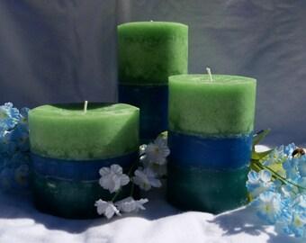 3 Pillar Candle Set - Green/Blue/Teal - Lavender Vanilla Scented