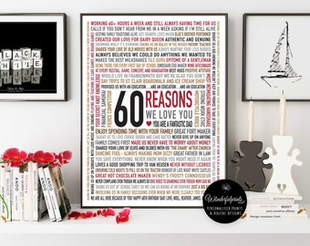 Custom 60th Birthday Gift for DAD / 60 Reasons Why We Love You / Unique Gift / Personalised Word Art / 16x20 / DIGITAL Download /