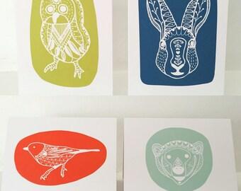 Scandinavian animal blank greeting cards - set of 4
