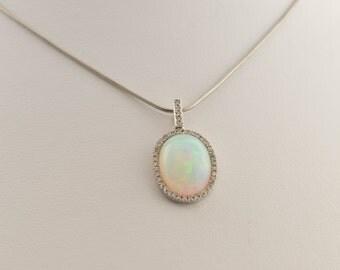 Fiery White Opal & Diamond Pendant