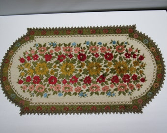 Embroidered Chenille Floral Tapestry Table Runner Made in Belgium
