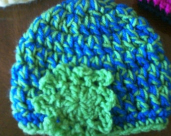 Crochet Toddler Hat - Blue & Green