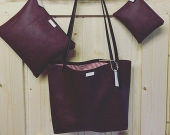 Deep Red Grained Bag