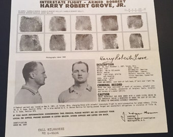 Vintage FBI Wanted Poster / FBI Poster / Wanted Poster / Wanted By FBI  Harry Robert Grove Jr