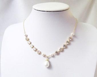 bridal pearl and crystal necklace bridal pearl necklace, wedding necklace,bridal jewellery wedding jewelry bridal necklace, pearl jewelry