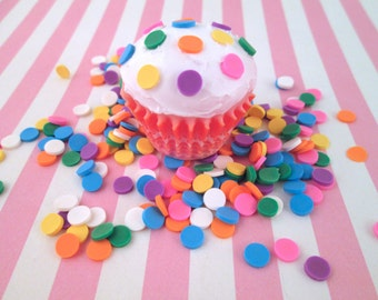 Polymer Clay  Confetti Sprinkles, Fake Sprinkles, Decoden Funfetti Rainbow Jimmies, E22