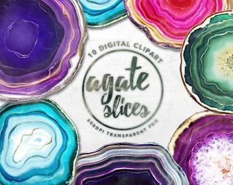 Agate Slices Digital clipart, Agate digital paper, crystal digital paper, crystals clipart, gem clipart, rock crystals, Precious Stones