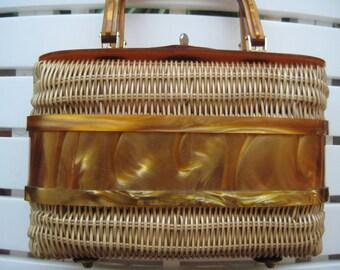 VTG Wicker Handbag with Lucite Trim by Adele