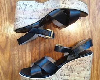 Vtg Platform black womens open toe slingback sandals size US 7 free shipping