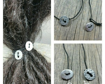 Metal Button Hair Tie/dread lock jewelry / dread falls / hair tie