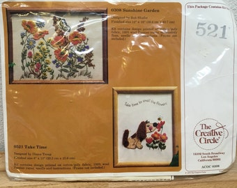 Sunshine Garden Floral Crewel, Creative Circle, Crewel Kit, Take Time Crewel, Dog crewel, 2 pack crewel, 521, 308, 1979 Crewel, Butterfly