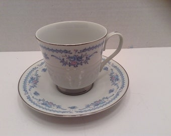 Ekco Cup and Saucer Winsford pattern Blue Pink White Silver Japan