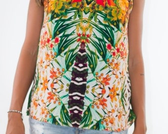 Colocsty Party Garden Crop top * Limited Edition / Blouse /Summer Shirt/ Festival Tops / Beach Top /Summer Tops/ Halter Top /Floral Print