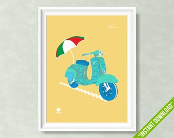 VINTAGE VESPA SCOOTER Print, Vespa Poster, Printable Wall Art, Summer Collection, Umbrella, Cool Prints, Digital Illustration, Made in Italy