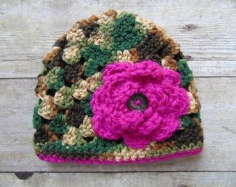 Newborn Camouflage Hat, Girl Camouglage Hat, Girl Camo Hat, Baby Crochet Hat, Newborn Hunting Hat, Camouflage Crochet Hat, Baby Hunting Hat