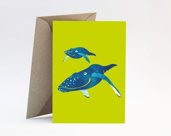 Whales on bright green card - Congratulations you're pregnant, expectant mother, newborn, new baby boy or girl, new parents, Mother's Day