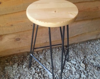 Hairpin Bar Stool Clear Wood Top- FREE SHIPPING - Custom Heights Available