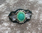 Fantasia - Bead Art Cuff - Sterling Silver Bracelet - Genuine Turquoise Focal - Bead Embroidery Cuff - Wearable Art