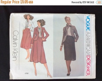 Vogue Pattern 1791, JACKET, SKIRT, BLOUSE, Size 10, Designer Calvin Klein