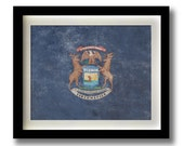 "Michigan Flag Print - 11x14"""