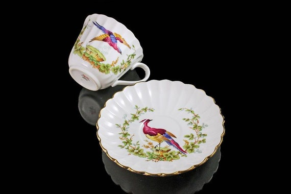 Teacup and Saucer, Spode, Bone China, England, Bird Pattern, Scalloped Edge, Gold Trim, Hard To Find
