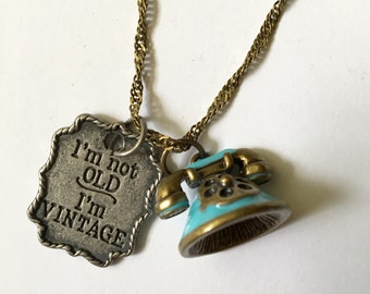 Vintage Necklace, Vintage Charm Necklace, Vintage Phone