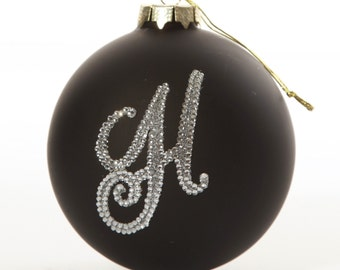 Personalised Black Bling Monogram Bauble
