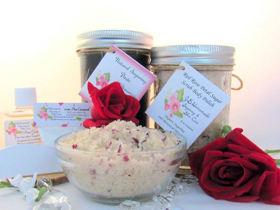 Sugaring Paste & Red Rose Petal Sugar Scrub Bundle