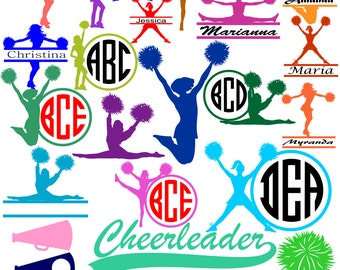 Cheer SVG Cut Files / Cheerleading silhouette / Cheer Monogram Frames / Cheerleader Frame / Cheer svg  / svg dxf ai eps png /